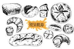 Gezeichnete gesetzte Illustration des Brotvektors Hand stock abbildung