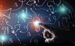 Gezeichnete Glühlampe und Pfeile des Geschäftsmannes rührende Hand mit seiner FI Stockbilder