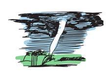 Gezeichnete Ikone des Tornadostrudels Hand lizenzfreie abbildung