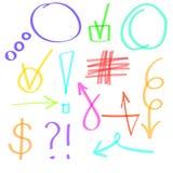Gezeichnete Ikonen des Leuchtmarkers Hand Karikatur polar mit Herzen Purpurrote, orange, grüne, cian blaue Linien lizenzfreie abbildung