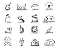 Gezeichnete Ikonen des Webs Hand Stockbilder