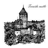 Gezeichnete Illustration der Bild Turaida-Schloss-Skizze Hand lizenzfreie abbildung