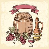 Gezeichnete Illustration der Weinweinlese Hand Stockfotos