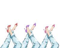 Gezeichnete Illustration des Aquarells Hand - tragende Fersen des Mädchens und blaue Denimjeans Stockbilder