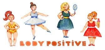Gezeichnete Illustration des Aquarells des Körpers positive Hand von vier Frauen mit bunter Beschriftung lizenzfreie abbildung