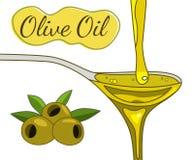 Gezeichnete Illustration des Olivenöls Hand lizenzfreie abbildung