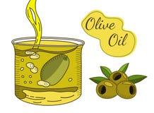 Gezeichnete Illustration des Olivenöls Hand vektor abbildung
