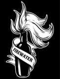 Gezeichnete Illustration des Vektors Hand von ` Feuerwasser ` Stockfotografie