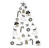 Gezeichnete Illustration des Weihnachtsbaums Hand mit Geschenken und Bel Stockfoto