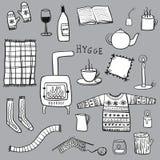 Gezeichnete Illustration Hygge Hand Stockbild