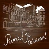 Gezeichnete Illustration Paris Hand auf dem hölzernen Hintergrund stock abbildung