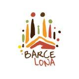 Gezeichnete Illustration Vektor der Barcelona-Tourismuslogoschablone Hand lizenzfreie abbildung