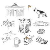 Gezeichnete Illustrationen des Deutschland-Symbolsatzes Hand Lizenzfreies Stockfoto