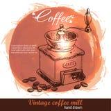 Gezeichnete Kaffeemühle der Weinlese Hand mit Los Kaffeebohnen Lizenzfreie Stockfotografie