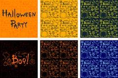 Gezeichnete Karikaturhintergründe Halloweens Hand eingestellt Stockfotografie