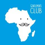 Gezeichnete Karte Spaßschnurrbartclubkarikatur Afrikas Hand Lizenzfreie Stockbilder