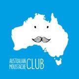 Gezeichnete Karte Spaßschnurrbartkarikatur Australiens Hand Lizenzfreies Stockfoto