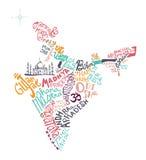 Gezeichnete Kartenillustration Indiens Hand Lizenzfreies Stockbild