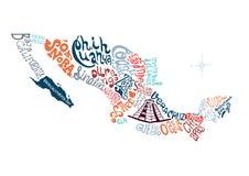 Gezeichnete Kartenillustration Mexikos Hand Lizenzfreies Stockfoto