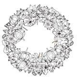 Gezeichnete Lotosblume des Kreises Hand Lizenzfreies Stockfoto