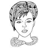 Gezeichnete Mädchengesicht Hand skizzierte Vektorillustration Gekritzelfrauen-Gesichtsgraphik mit aufwändigem Muster Design auf W Stockfoto
