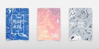 Gezeichnete marmornde Illustration des Vektor-gesetzte Tintenbeschaffenheits-Aquarells Hand, abstrakter Hintergrund, Aquadruck Sc stockfoto