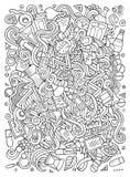 Gezeichnete medizinische Illustration der Gekritzel der Karikatur nette Hand Lizenzfreie Stockfotografie