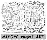 Gezeichnete Pfeile des Vektors Hand stellten lokalisiert auf weißer Skizze ein Lizenzfreie Stockfotos