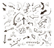 Gezeichnete Pfeilikonen des Vektors stellten Hand auf Weiß ein Stockbilder