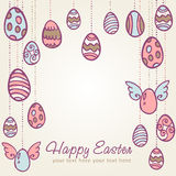 Gezeichnete Postkarte der Ostereier Hand Stockbilder