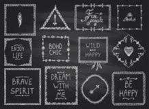 Gezeichnete Rahmen und Philosophie der Tafelmode Hand zitieren Mega- Satz der Phrasen in boho Art, Hippie, indie Art stock abbildung