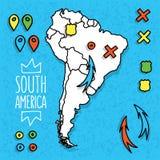 Gezeichnete Reisekarte der Karikaturart Hand des Südens Stockbild