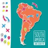 Gezeichnete Reisekarte der Karikaturart Hand des Südens Lizenzfreie Stockfotos