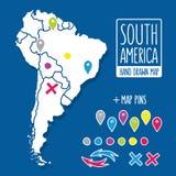 Gezeichnete Reisekarte der Karikaturart Hand des Südens Stockfotos
