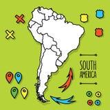 Gezeichnete Reisekarte der Karikaturart Hand des Südens Lizenzfreies Stockbild