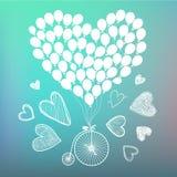Gezeichnete romantische Karte des Vektors Hand, Plakat Retro- Fahrrad mit Hand gezeichneten Karten und Ballons herum Tag des Vale stock abbildung