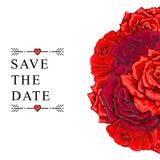Gezeichnete rosafarbene Blumenstraußabwehr des Vektors Hand das Datum Stockbilder