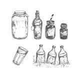Gezeichnete Sammlung des Vektors Hand Glas Flasche stock abbildung