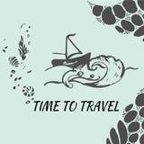 Gezeichnete Skizze der Reise Hand für Design Abenteuerreisen Stockbild