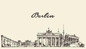 Gezeichnete Skizze des Berlin-Skylinevektors Illustration lizenzfreie abbildung