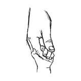 Gezeichnete Skizze des Illustrationsvektor-Gekritzels Hand des Elternteils hält lizenzfreie abbildung