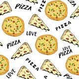 Gezeichnete Skizze des Musters der Pizza nahtlose Hand Pizzascheibe kritzelt und fasst Pizzaliebe Lebensmittelhintergrund ab Auch Lizenzfreies Stockfoto