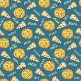 Gezeichnete Skizze des Musters der Pizza nahtlose Hand Pizzascheibe kritzelt und fasst Pizzaliebe Lebensmittelhintergrund ab Auch Stockbild