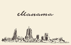 Gezeichnete Skizze Manama-Skyline Bahrains Vektor Stockfotografie
