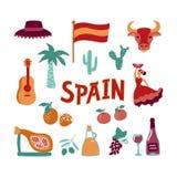 Gezeichnete Symbole der Sammlung Hand von Spanien vektor abbildung