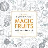 Gezeichnete Vektorillustration der Früchte und der Beeren Hand Retro- graviertes Artfahnendesign Sein kann Gebrauch für Menü, Auf Stockfoto