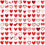Gezeichnete Vektorillustration mit 100 Herzikonen Hand Stockfotografie