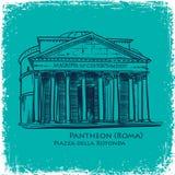 Gezeichnete Vektorillustration Rom-Gebäudes Hand Stockfoto