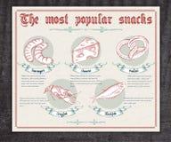 Gezeichnete Weinlese des Vektors Hand infographic über Lizenzfreies Stockbild