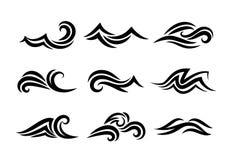 Gezeichnete Wellen des Ozeans Hand lokalisiert auf Weiß Lizenzfreie Stockfotografie